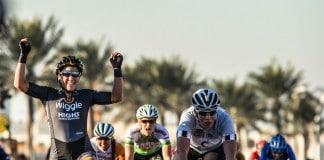Chloe Hosking rempote la dernière étape du Ladies Tour of Qatar 2016. Photo : Qatar Cycling Federation
