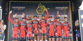 L'équipe BMC remporte le contre-la-montre par équipes de la première étape de Tirreno-Adriatico 2016. Photo : Tirreno-Adriatico
