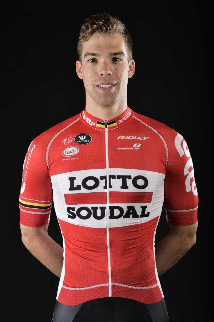 Jens-Debusschere est tombé sur Gand-Wevelgem et souffrirait d'une commotion cérébrale. Photo : Lotto Soudal