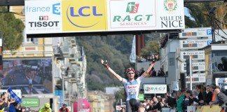 Tim Wellens s'impose sur la dernière étape de Paris-Nice 2016 devant Alberto Contador et Richie Porte. Photo : ASO/G.Demouveaux