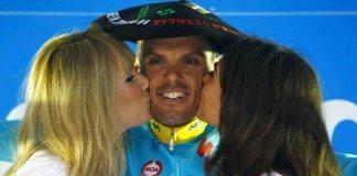 Luis Leon Sanchez sur le podium du Tour du Pays-Basque 2016. Photo : Bettini Photo/Astana