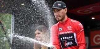 TODAYCYCLING - Giacomo Nizzolo sur le podium du Tour d'Italie 2016. Photo : Trek-Segafredo.