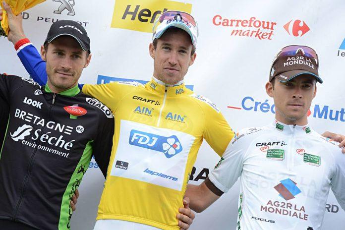 TODAYCYCLING - Alexandre Geniez sur la plus haute marche du podium du Tour de l'Ain 2015. Photo : Tour de l'Ain