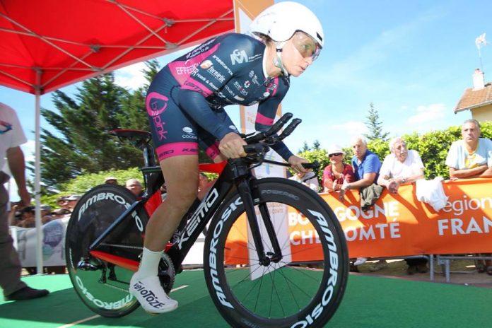 TODAYCYCLING - Amber Neben au départ du contre-la-montre de la 4e étape de la Route de France 2016. Photo : Route de France