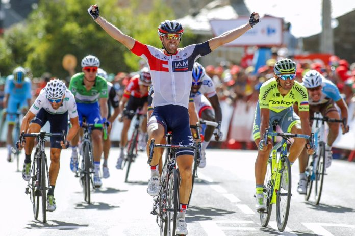 TODAYCYCLING - Jonas Van Genechten remporte avec brio la septième étape de la Vuelta. Photo: Bettini/IAM Cycling