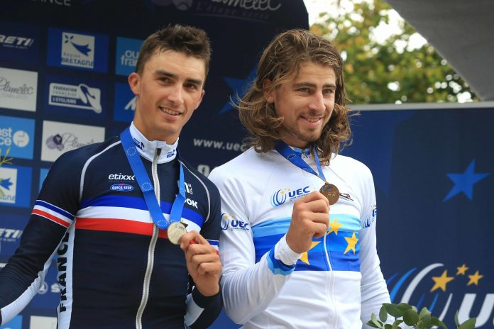 TODAYCYCLING - Julian Alaphilippe médaillé d'argent des championnats d'Europe 2016 derrière Peter Sagan. Photo : TDWsport/Etixx-Quick Step