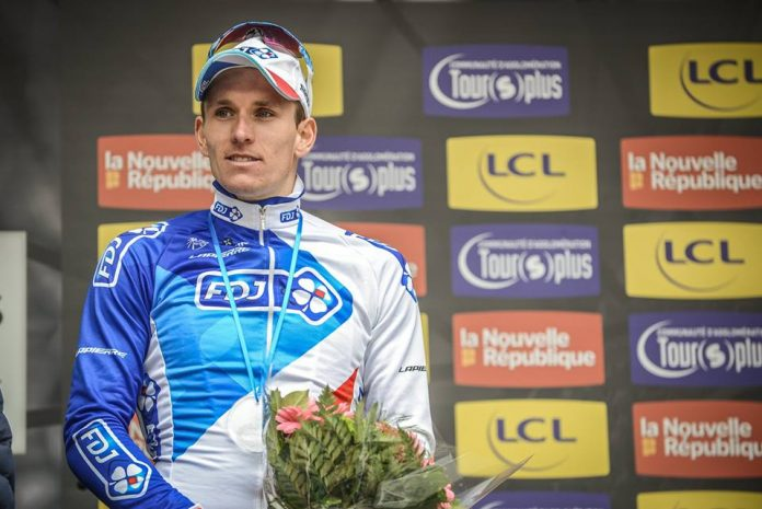 TODAYCYCLING : Arnaud Demare sur le podium de Paris-Tours. Photo : FDJ