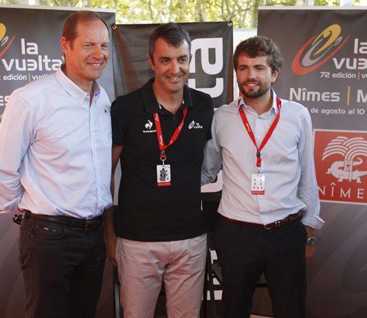 Christian Prudhomme, Javier Guillen et Julien Plantier lors de la présentation du Tour d'Espagne à Nîmes