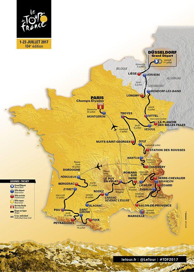 etape du jour carte Tour de France 2017 : Dans 50 jours départ de Düsseldorf