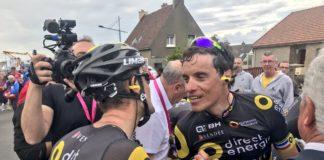 Fabien Grellier félicite Sylvain Chavanel après sa victoire sur la 4e étape des 4 Jours de Dunkerque 2017