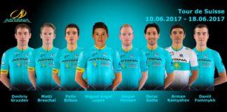 Miguel Angel Lopez à la tête de l'équipe Astana sur le Tour de Suisse 2017