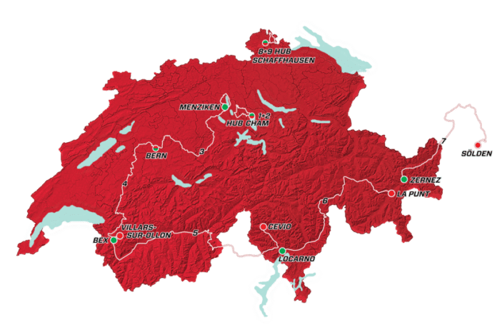 Le parcours et les étapes du Tour de Suisse 2017