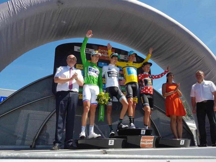 Podium du Dauphiné Libéré 2017 et Jakob Fuglsang en maillot jaune