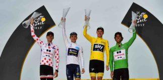 Le podium des maillots distinctifs du Tour de France 2017