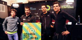Peter Sagan, Greg Van Avermaet, Rigoberto Uran et Tom Dumoulin à la conférence de presse avant le départ du Grand Prix cycliste de Québec 2017