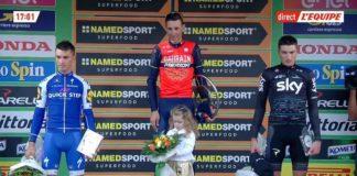 Vincenzo Nibali sur la plus haute marche du podium du Il Lombardia