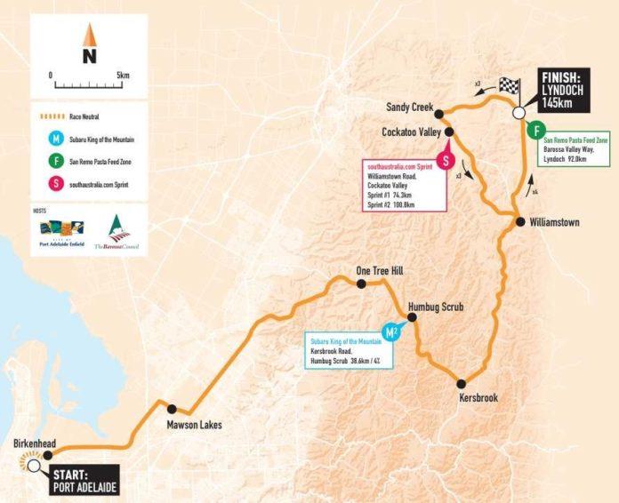 Tour Down Under 2018 parcours Etape 1