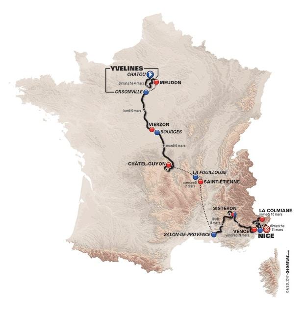Le parcours de Paris-Nice 2018 avec sa carte