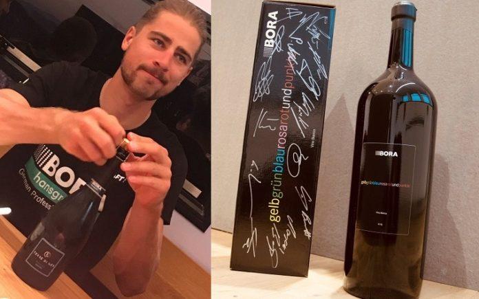 Peter Sagan boit du vin Bora-Hansgrohe !