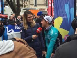 Bryan Coquard interviewé par Claire Bricogne de l'Equipe TV