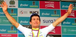 Sergio Henao avec le maillot de champion de Colombie