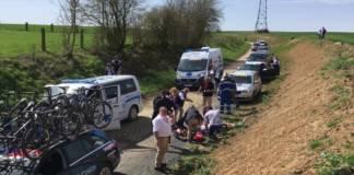 Michael Goolaerts chute héliporté Paris-Roubaix 2018