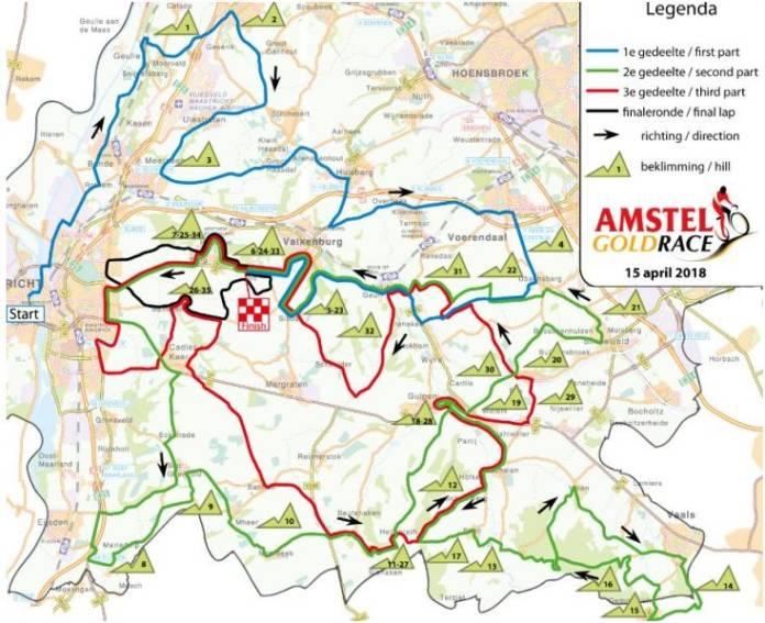 Amstel Gold Race 2018 parcours et carte