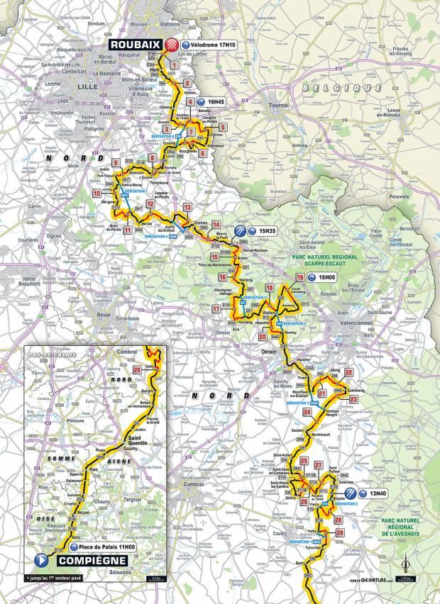 Paris-Roubaix 2018 parcours