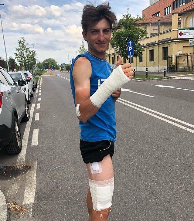 Tour d'Italie 2018 avec des bandages pour Giccone