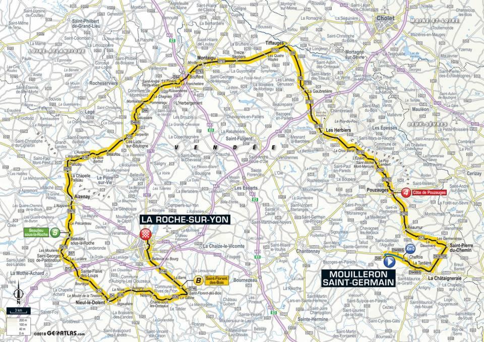 parcours etape 2 tour de france 2018