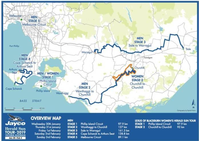 Herald Sun Tour 2019 tracé