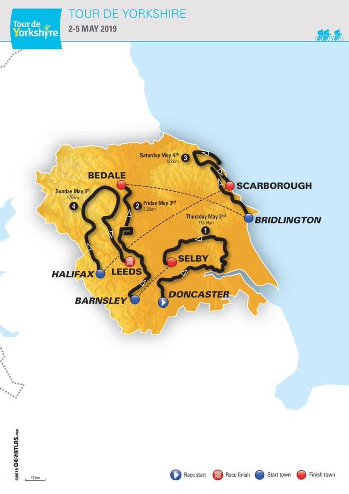 Tour de Yorkshire 2019 parcours complet