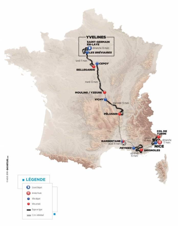Paris-Nice 2019 parcours dévoilé