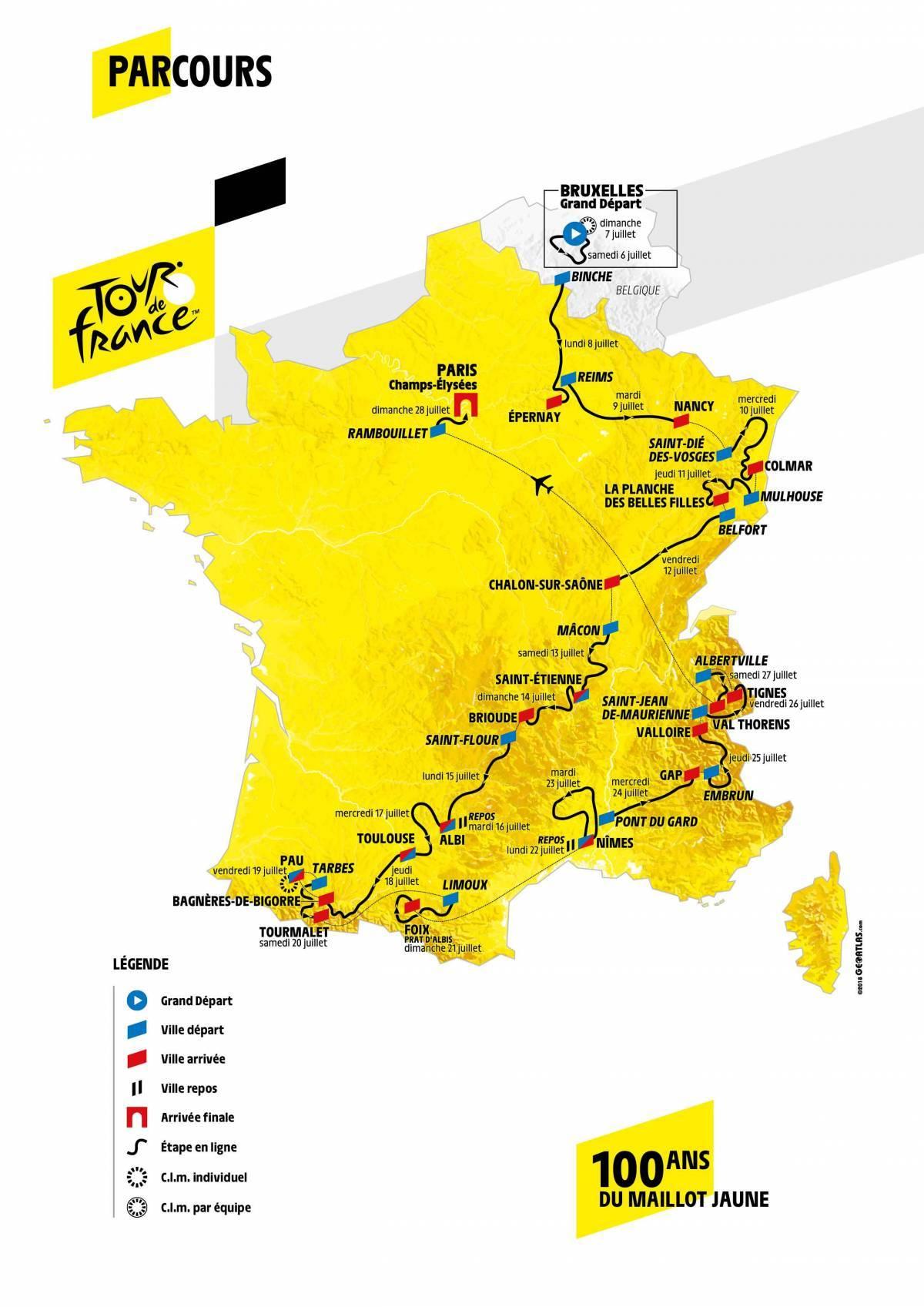 Le parcours complet et les favoris du Tour de France 2019