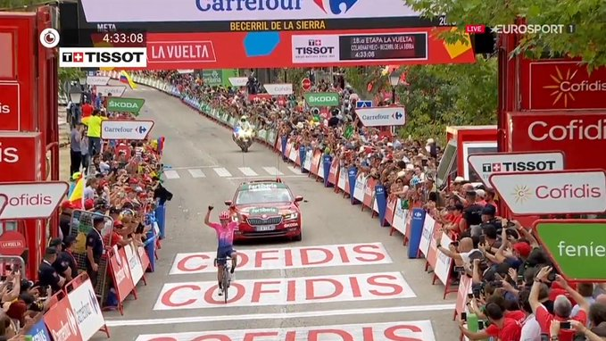 Sergio Higuita vainqueur en solitaire de la 18e étape