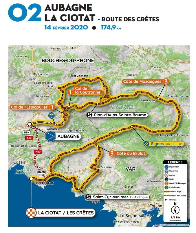 Carte de la 2e étape du Tour de La Provence 2020