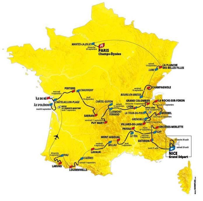 Le parcours complet du Tour de France 2020