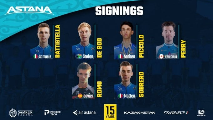 Astana Pro Team recrute six coureurs simultanément