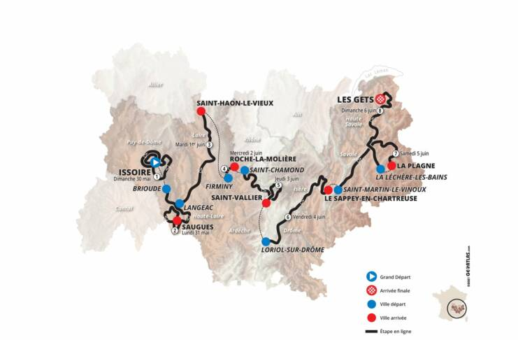 Parcours du Critérium du Dauphiné 2021