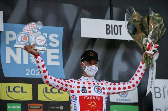 Anthony Perez maillot à pois de Paris-Nice après la 6e étape