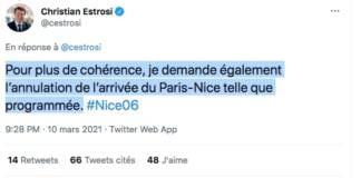 Christian Estrosi demande l'annulation de l'arrivée de Paris-Nice 2021