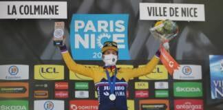 Primoz Roglic à l'arrivée de la 7e étape de Paris-Nice 2021