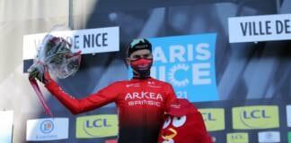 Warren Barguil à l'arrivée de la 8e étape de Paris-Nice 2021
