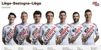 L'équipe AG2R Citroën autour de Benoit Cosnefroy pour Liège-Bastogne-Liège 2021