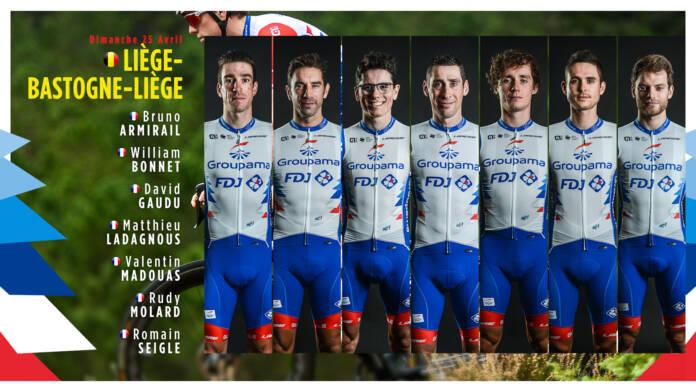 L'équipe Groupama-FDJ avec David Gaudu sur Liège-Bastogne-Liège 2021